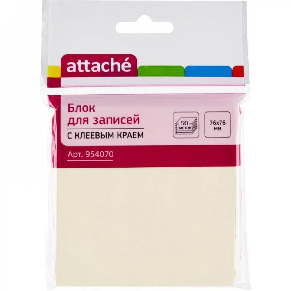 Стикеры Attache 76x76 мм пастельные желтые (1 блок, 50 листов)