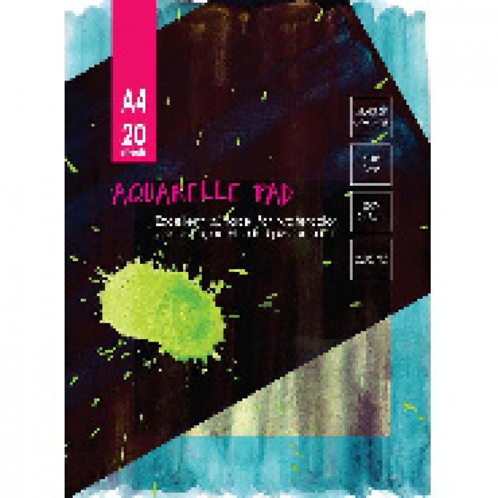 Альбом для акварели 20л,А4,склейк,блок ГОЗНАК,200гр,тверд.карт.подлож,05664