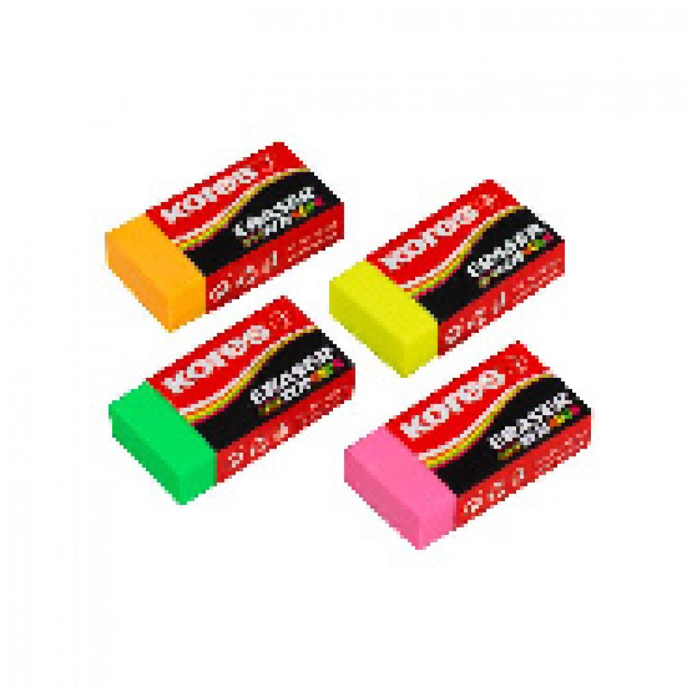 Ластик Kores цветной, 40x21x10mm в дисплей-боксе, цвет в асс 40303