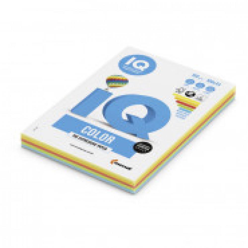 Бумага цветная для печати IQ Color 5 цветов интенсив RB02 (А4, 160 г/кв.м, 100 листов)