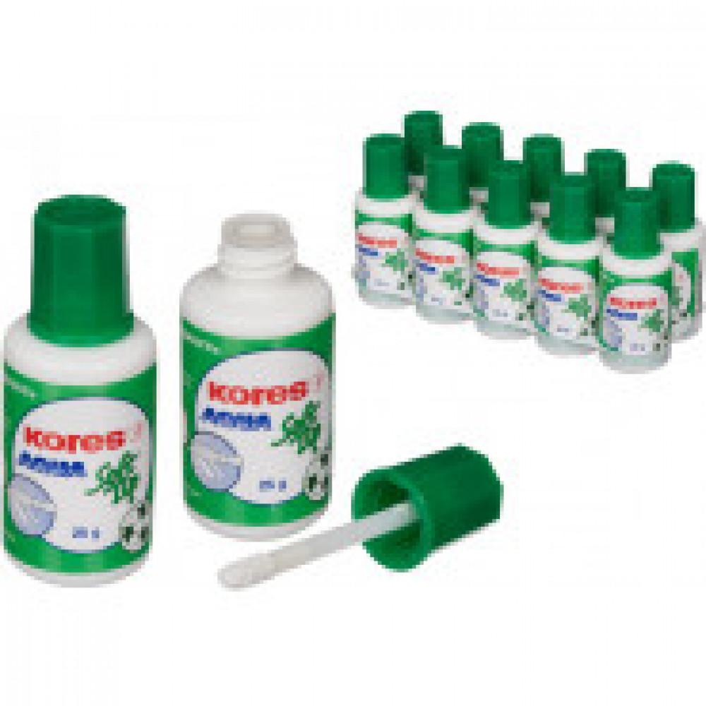 Корректирующая жидкость KORES Soft Tip AQUA 25мл на водной осн, аппликатор