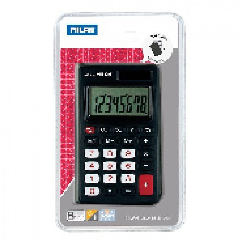 Калькулятор Milan 8-разр, в чехле, двойное питание, чёрно-красный 150208KBL