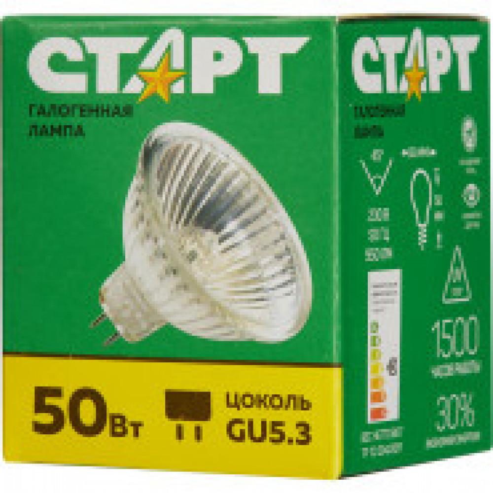 Лампа галогенная Старт 50 Вт GU5.3 спот зеркальный 2850 К теплый белый свет