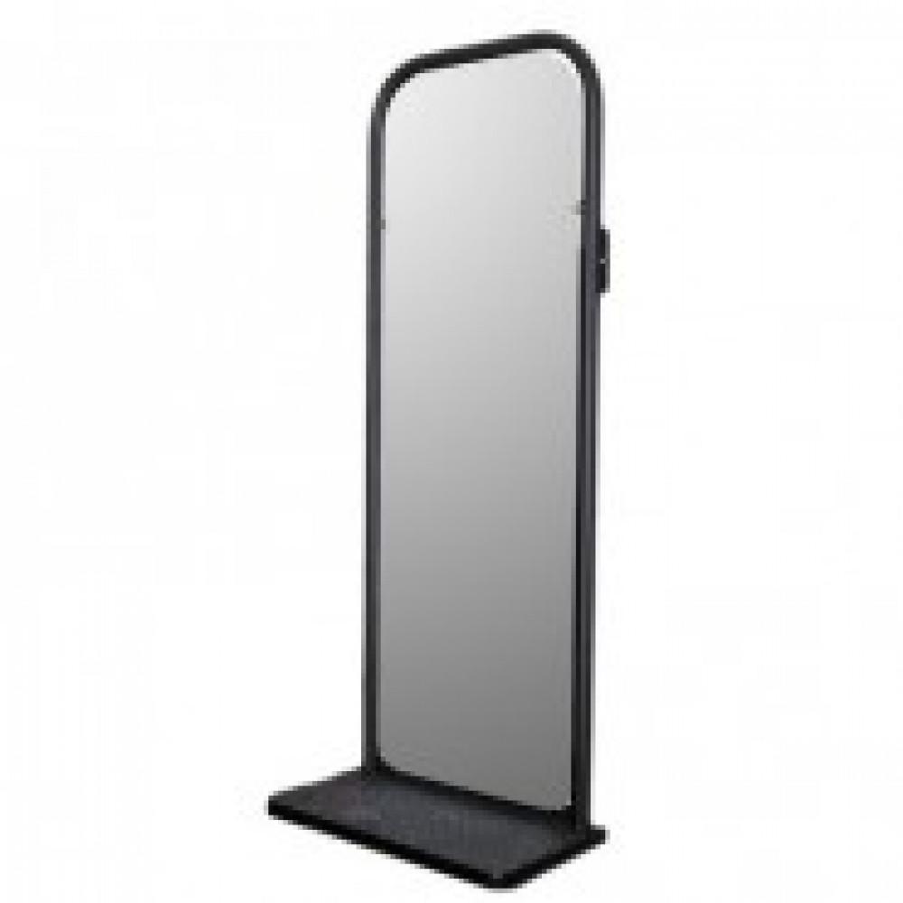 Зеркало TI_настенное с полкой черное 1060х420