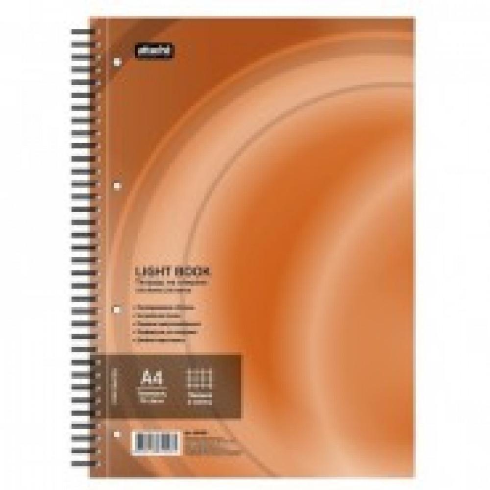 Бизнес-тетрадь 100л,кл,А4,LightBook,спираль,обл.оранж,блок белый 70г/м