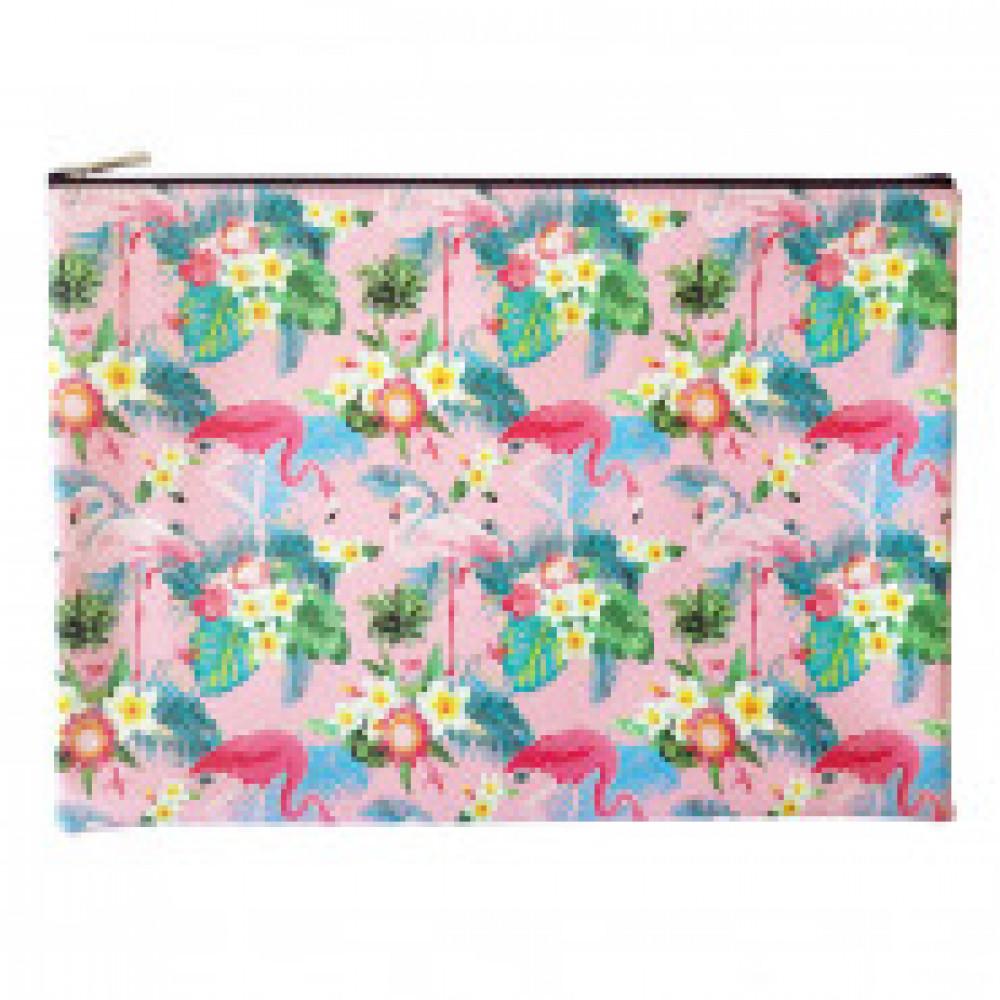 Папка Infolio Study Flamingo, А4+, искусств кожа, на молнии, IFC014, розов
