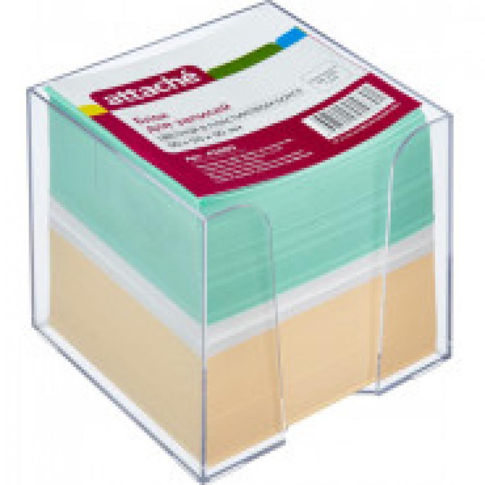 Блок-кубик ATTACHE в стакане 9х9х9 цветной блок 80 г