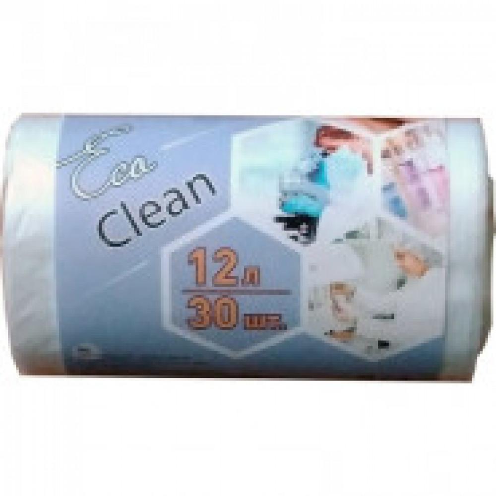 Мешки для мусора на 12 л Ecoclean белые (ПНД, 6 мкм, в рулоне 30 шт, 32х50 см)