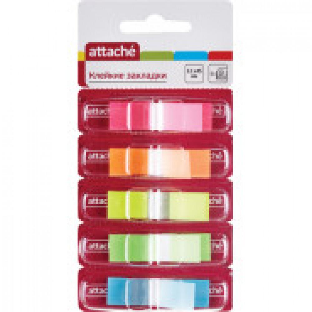 Клейкие закладки Attache пластиковые 5 цветов по 25 листов 12x45 мм в диспенсерах
