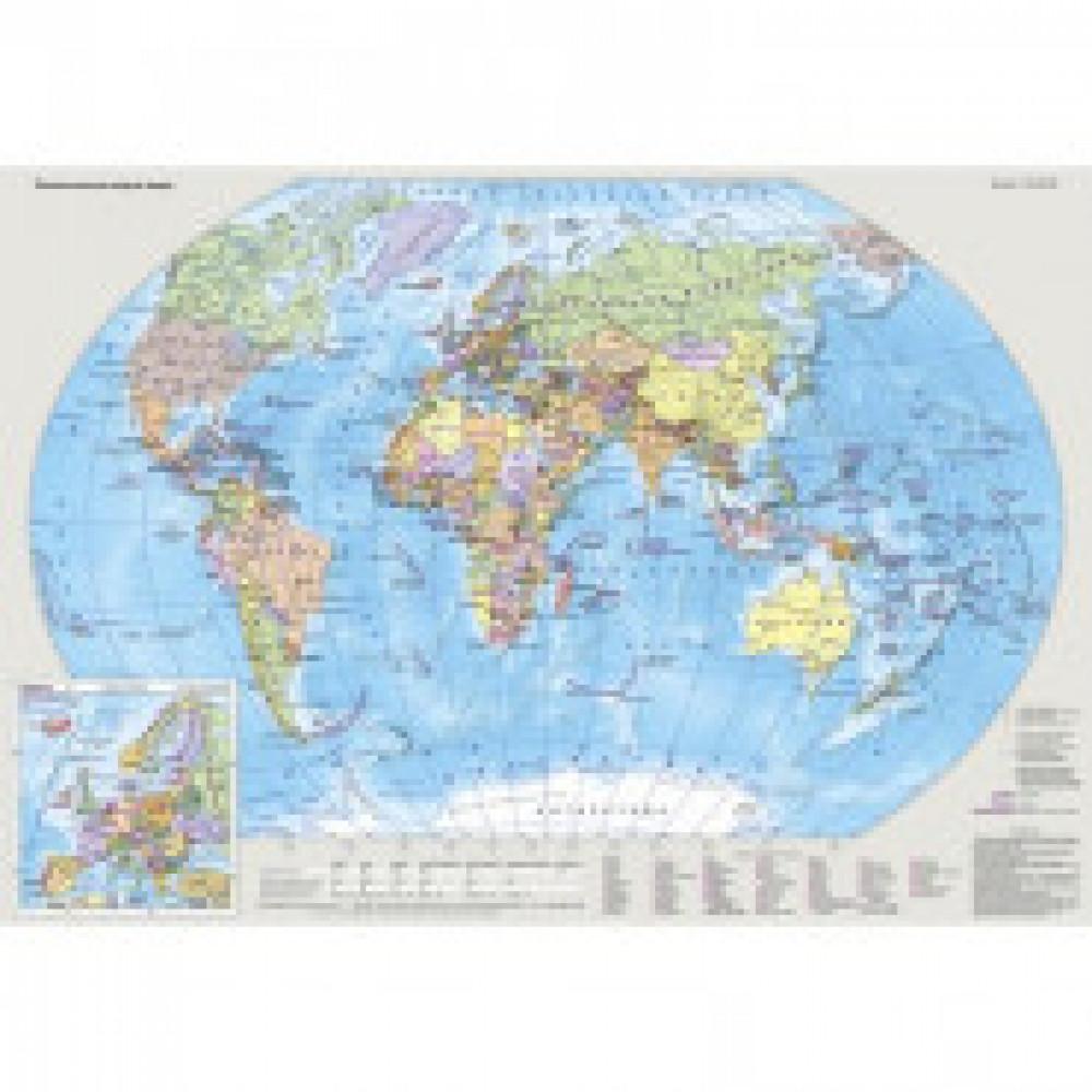 Карта настольная Мир и Россия двусторонняя 1:80млн., 1:18млн., 0,49х0,34м.