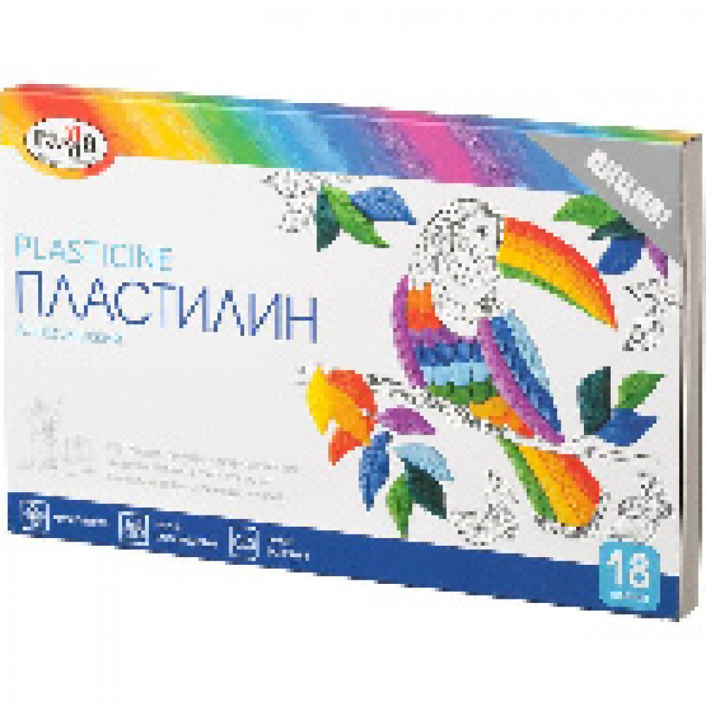 Пластилин Гамма КЛАССИЧЕСКИЙ 18 цв, со стеком, к/к 360г, 281035