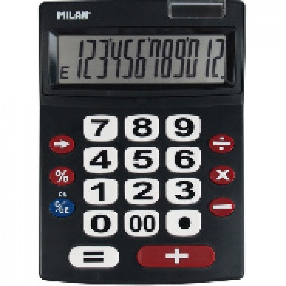 Калькулятор Milan настольный, 12-разряд, 2 батарейки ААА (151712BL)