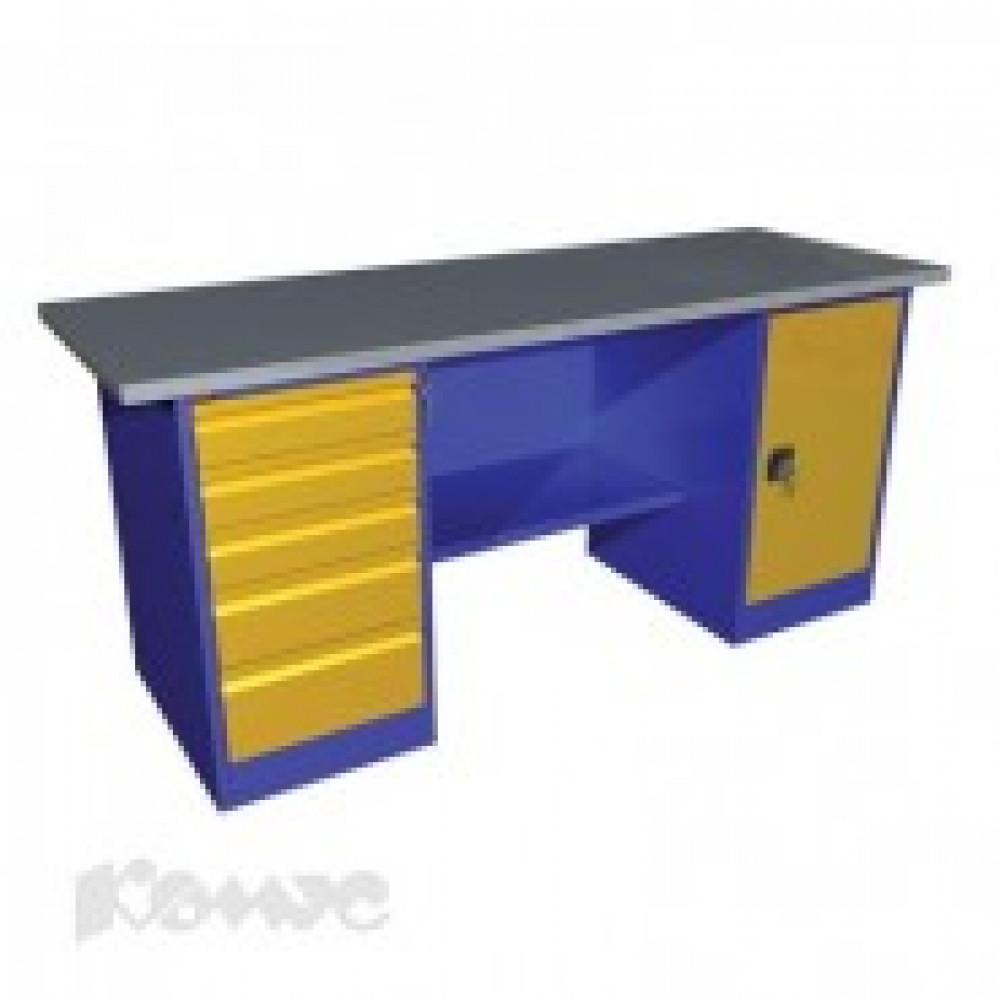 Метал.Мебель P_ВП-4 верстак 2 тумб.: с дверью и с 5 ящ., 1900х685х860