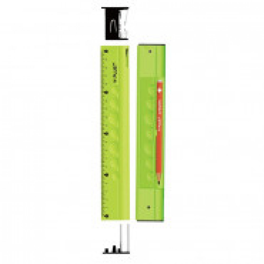 Линейка 20см Y-Plus, 4в1, линейка пластик, точилка, карандаш ч/ф, ластик