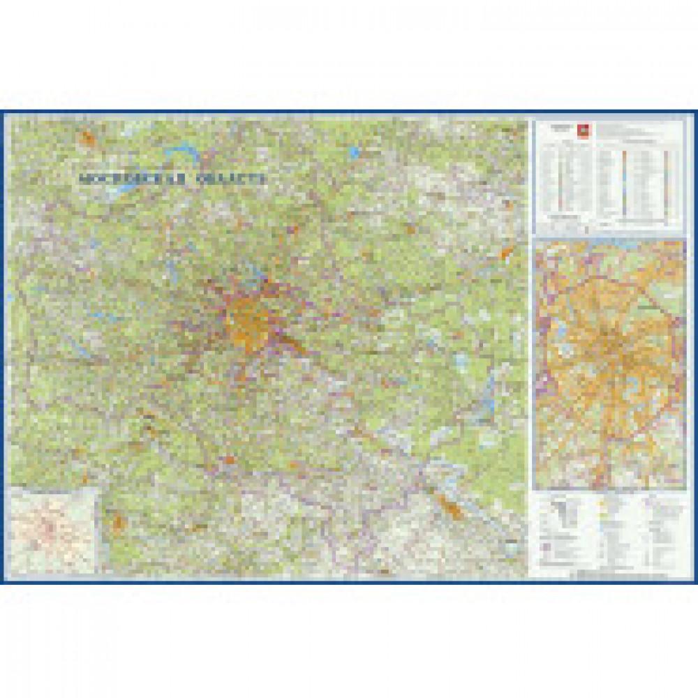 Настенная карта Московская область географическая 1570x1070 мм