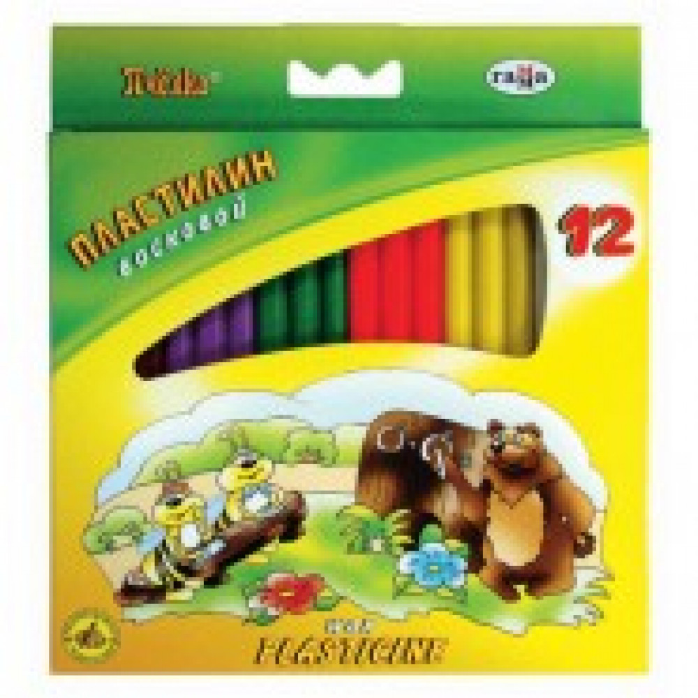 Пластилин Гамма Пчелка 12цв восковой 147гр со стеком,к/к