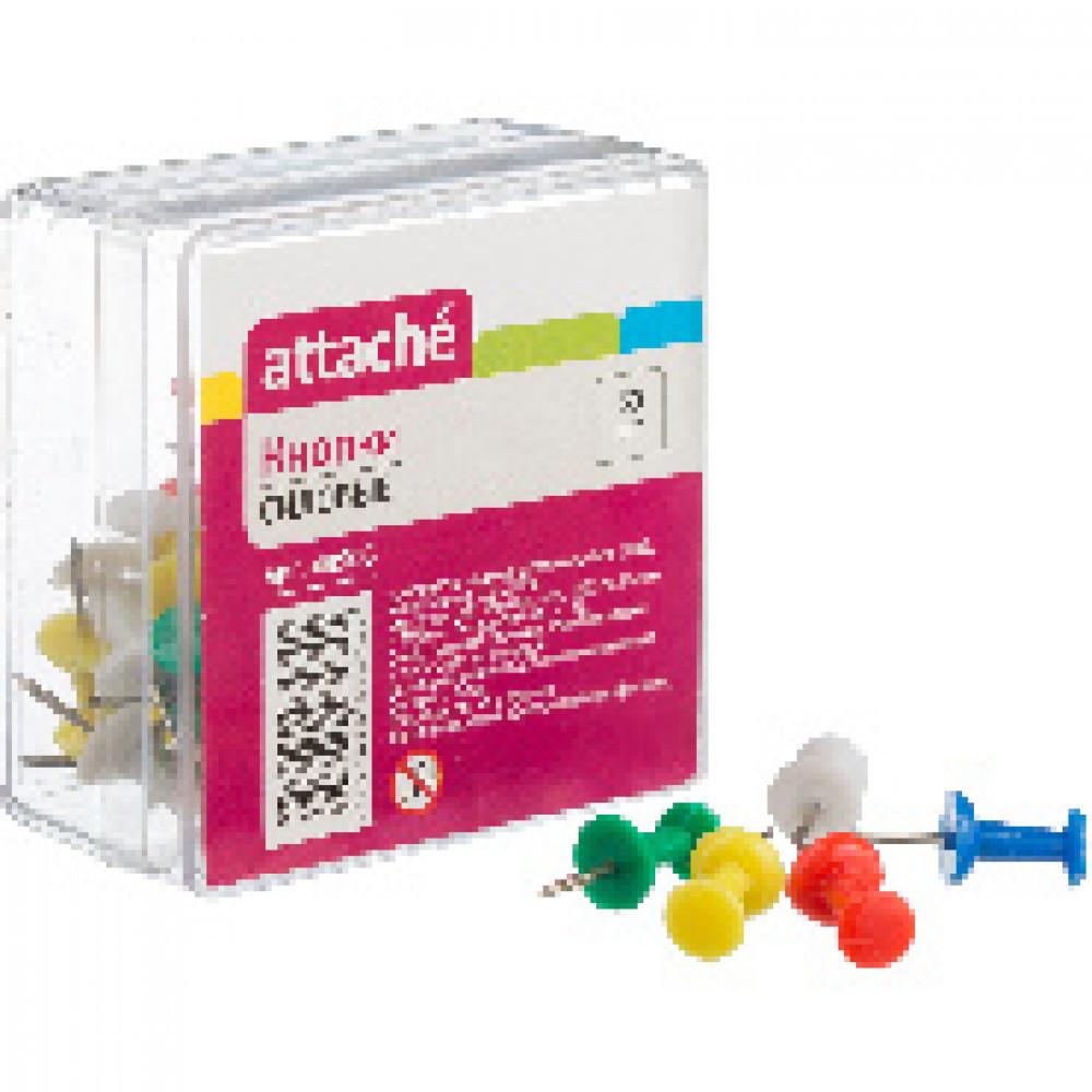 Кнопки для пробковых досок силовые ATTACHE 50 шт./уп. цв. AT-ALTS1002