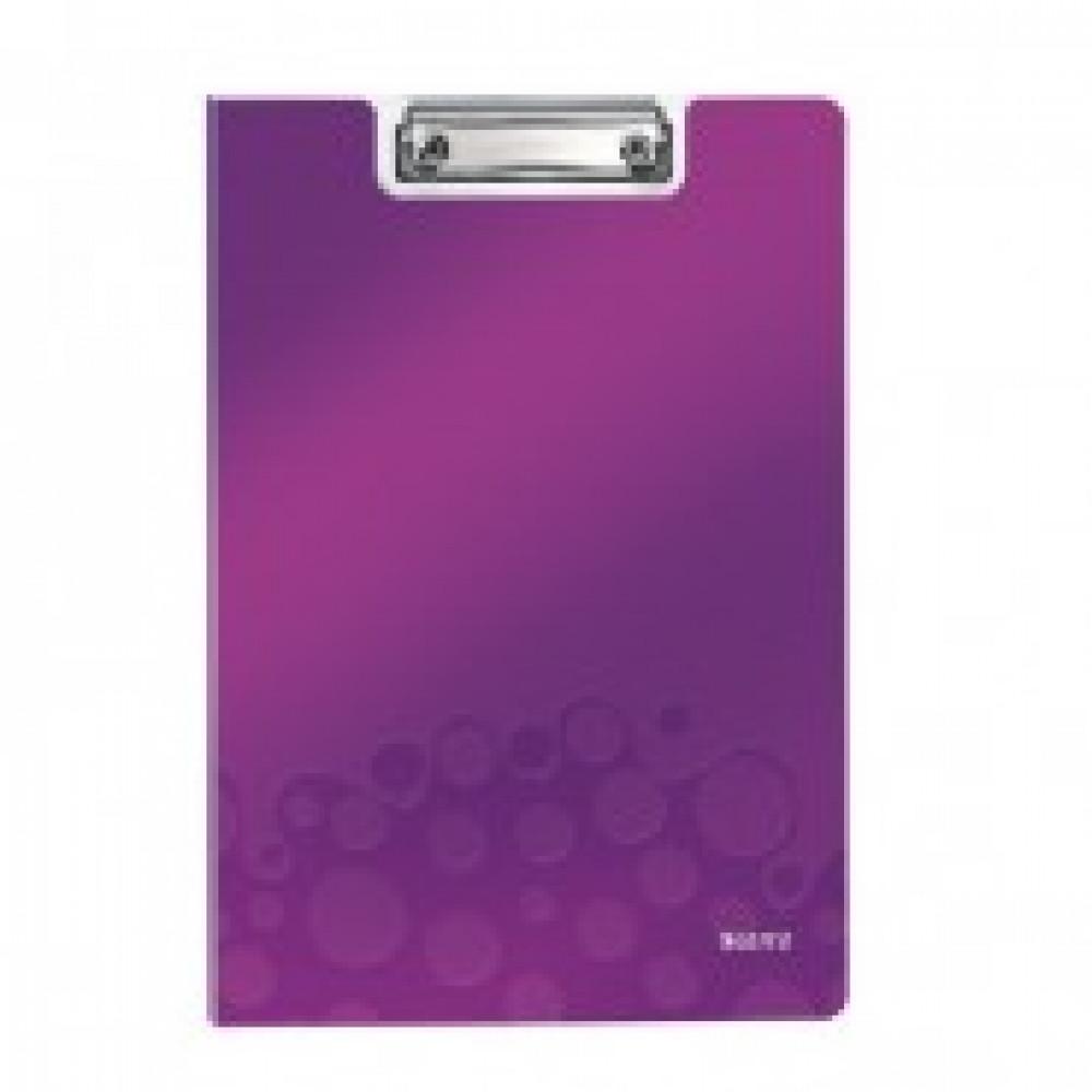 Папка-планшет с зажимом и крышкой Leitz Wow A4 пластиковая сиреневая
