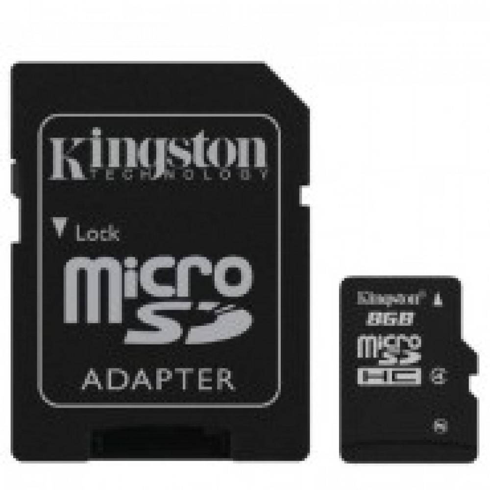 Карта памяти Kingston microSDHC 8Gb, Class 4+адаптер, SDC4/8GB