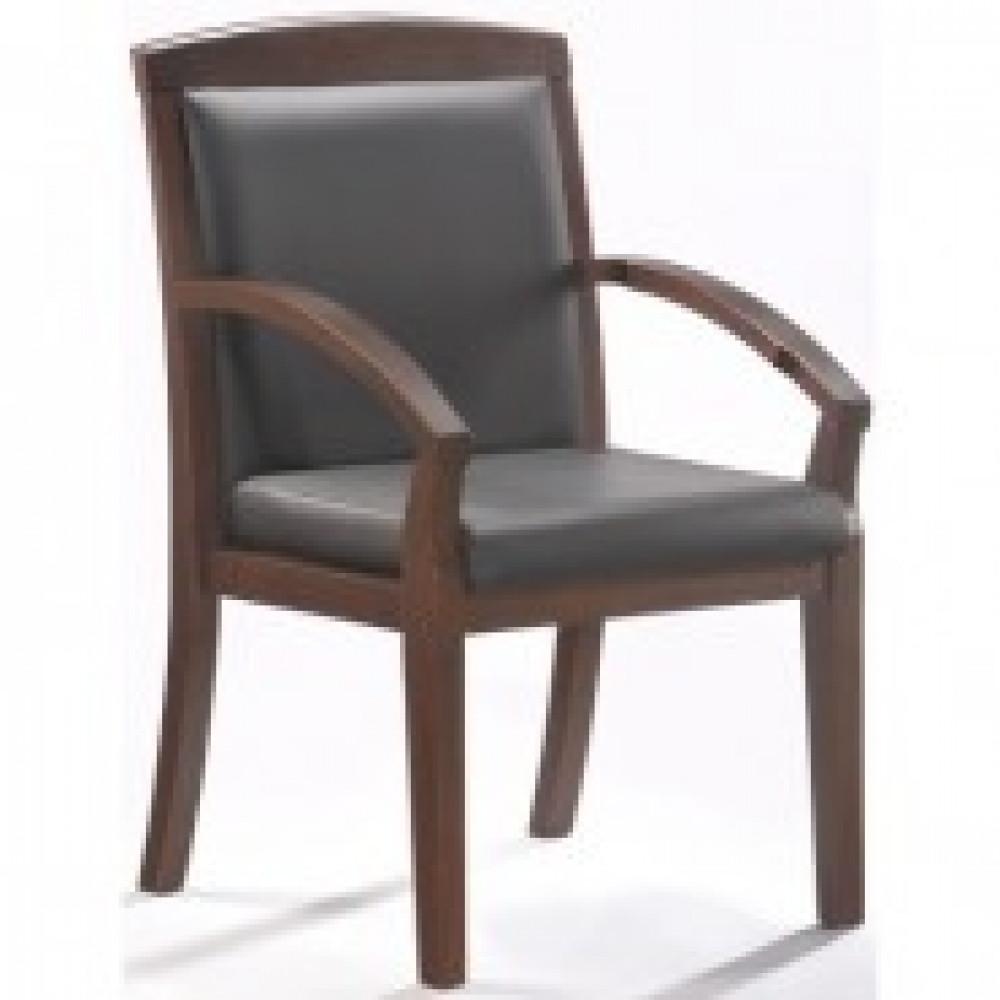 Кресло BN_Mb_Конференц Echair-421 KR рецикл.кожа черн., тем.орех