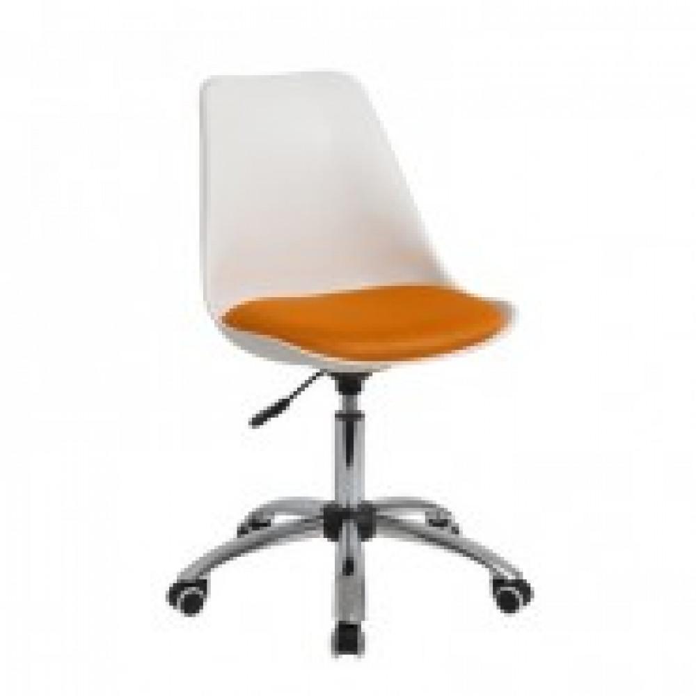 Кресло BN_Dt_Echair-212 PTW пласт.бел, ткань оранж 001TW