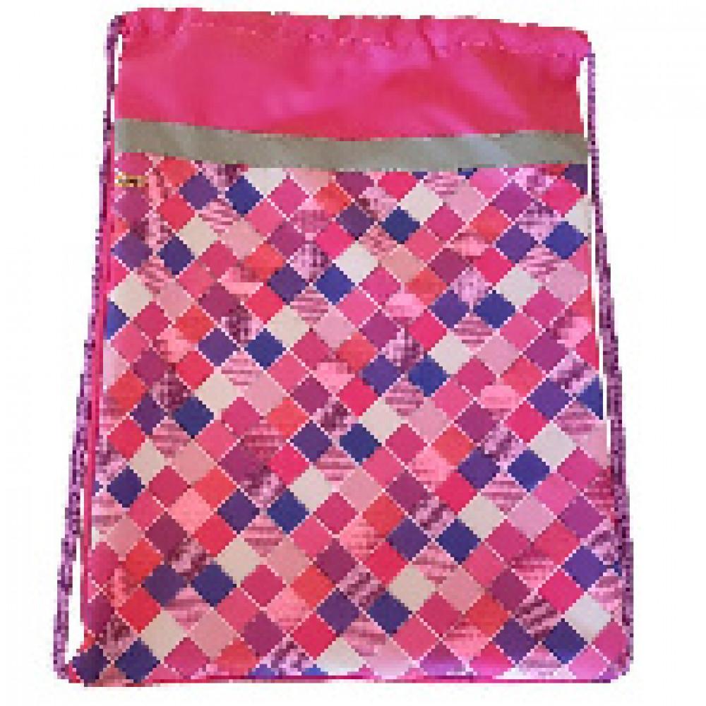 Мешок для обуви №1 School Клетка розовая 370x470 со светоотражателем,МСО-5с