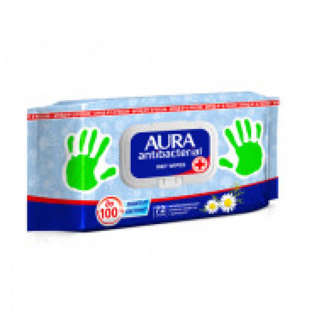 Влажные салфетки антибактериальные Aura 72 штуки в упаковке