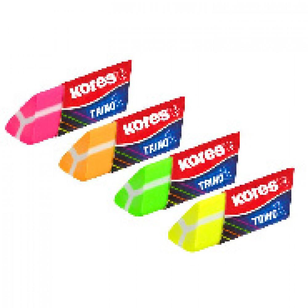 Ластик Kores треугольный неоновый в дисплей-боксе, цвет в асс 40503