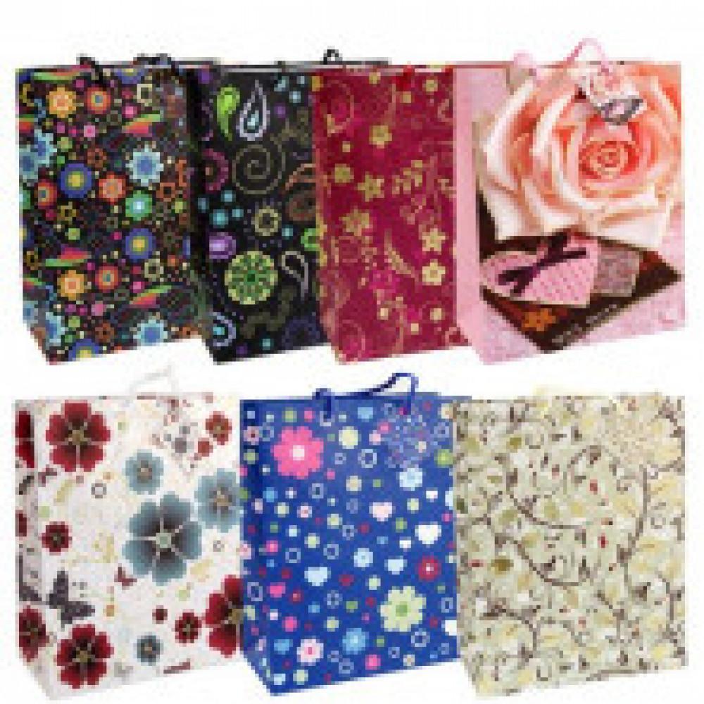 Пакет бумажный декор фольга 26X32,4X12,7 см, 7 дизайнов, 20567