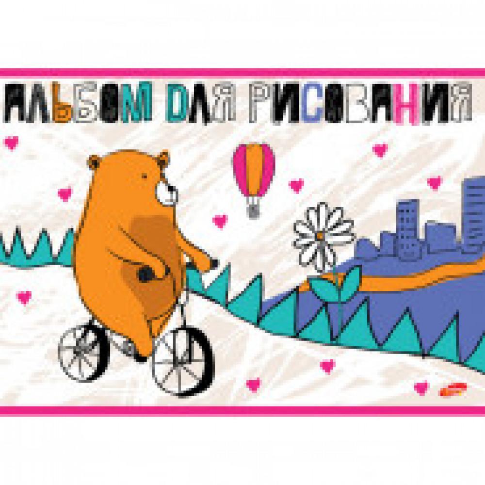 Альбом для рисования 20л А4,склейка,ВД-лак На велосипеде 8566/2 2вида