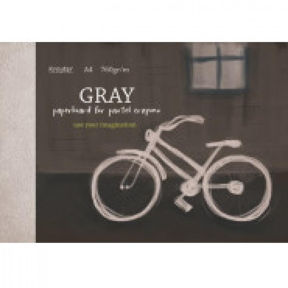 Альбом для рис. пастелью А4 10л, блок серый тонир. картон 760 г/м, 7590