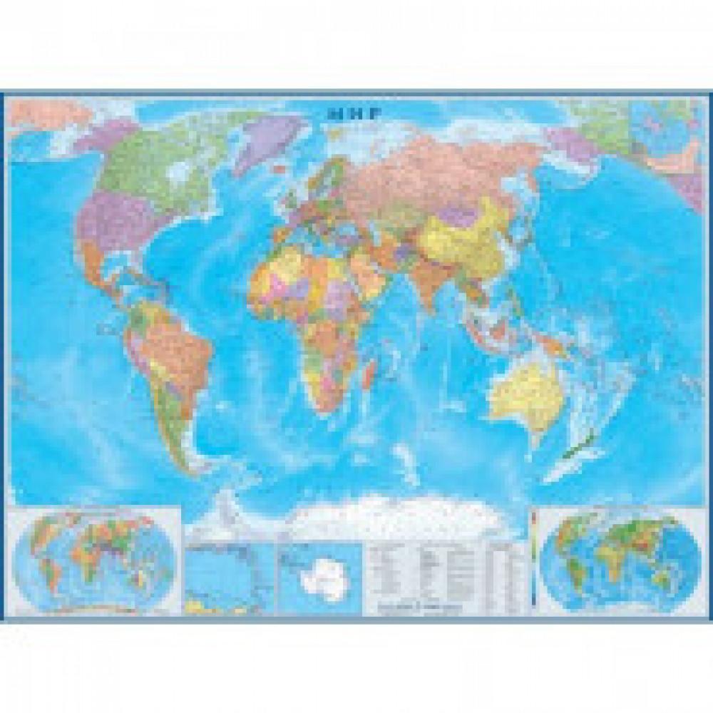 Настенная карта Мир политическая 1:22млн.,1,58х1,18м.