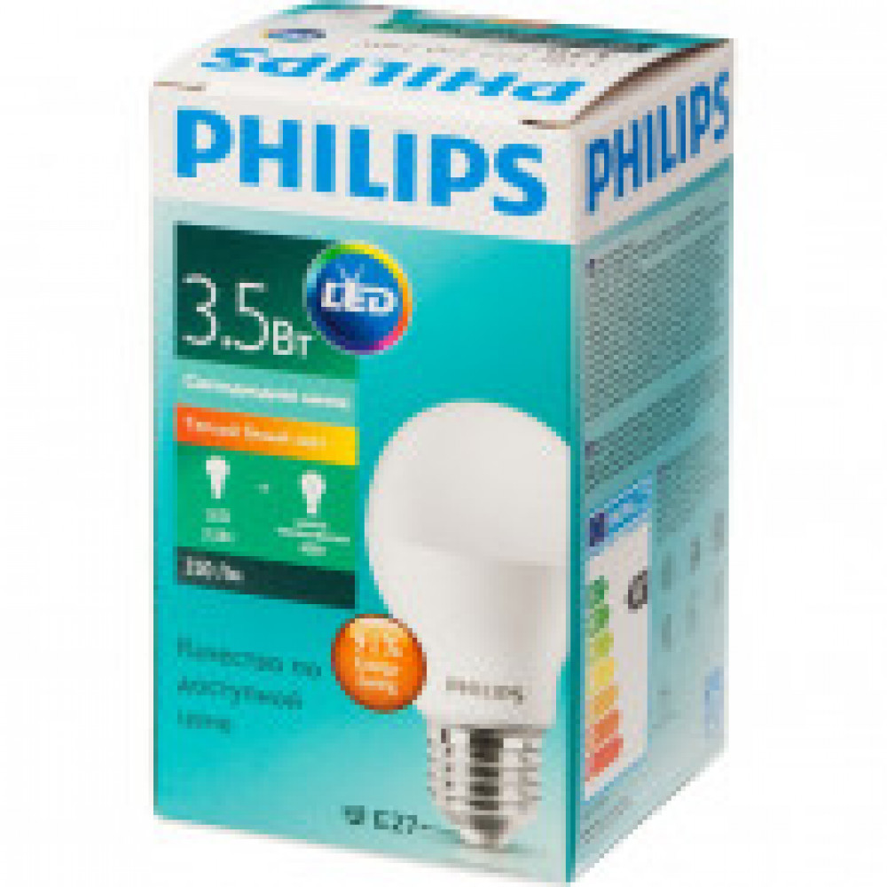 Лампа светодиодная Philips 3.5W E27 3000k тепл.бел. станд.колба