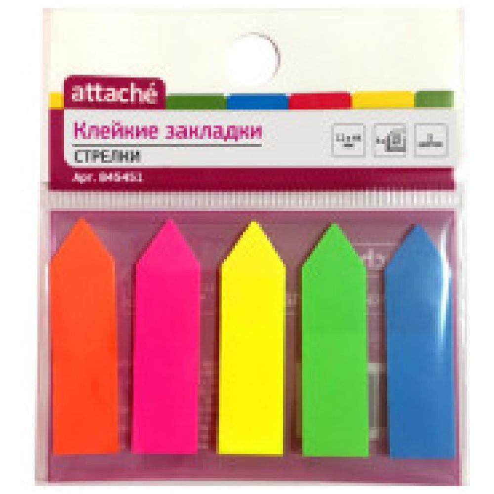 Клейкие закладки Attache пластиковые 5 цветов по 20 листов 12х44 мм
