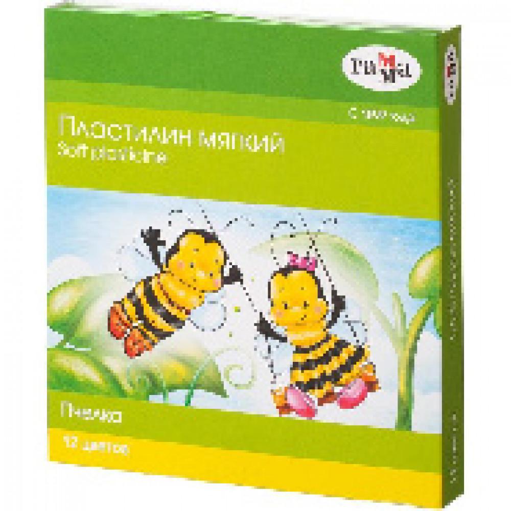 Пластилин Гамма Пчелка мягкий 12цв, со стеком, к/к, 180г, 280032Н