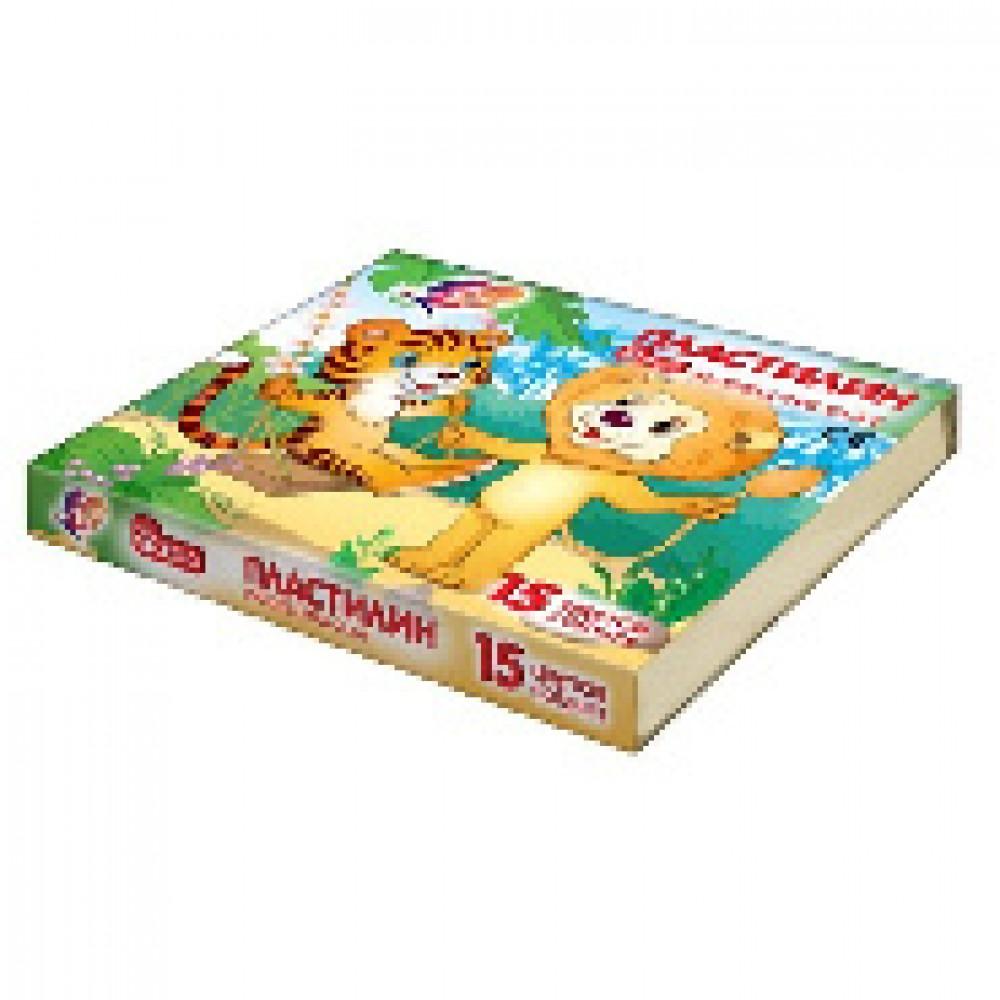 Пластилин ZOO Луч 15 цв., картон.вкладыш  203 гр., 20С 1357-08