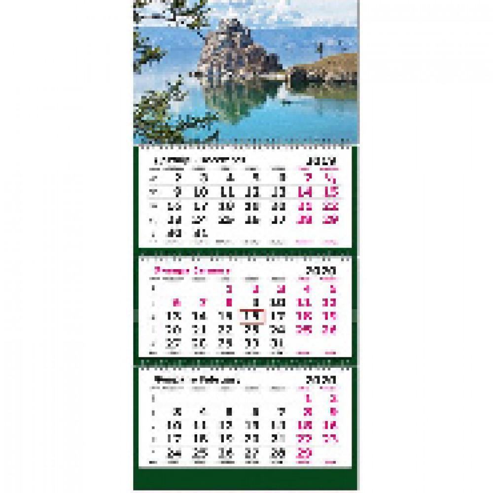 Календарь настен, 2020, 305х675,Горное озеро Байкал, 3спир,80г/м2,KB