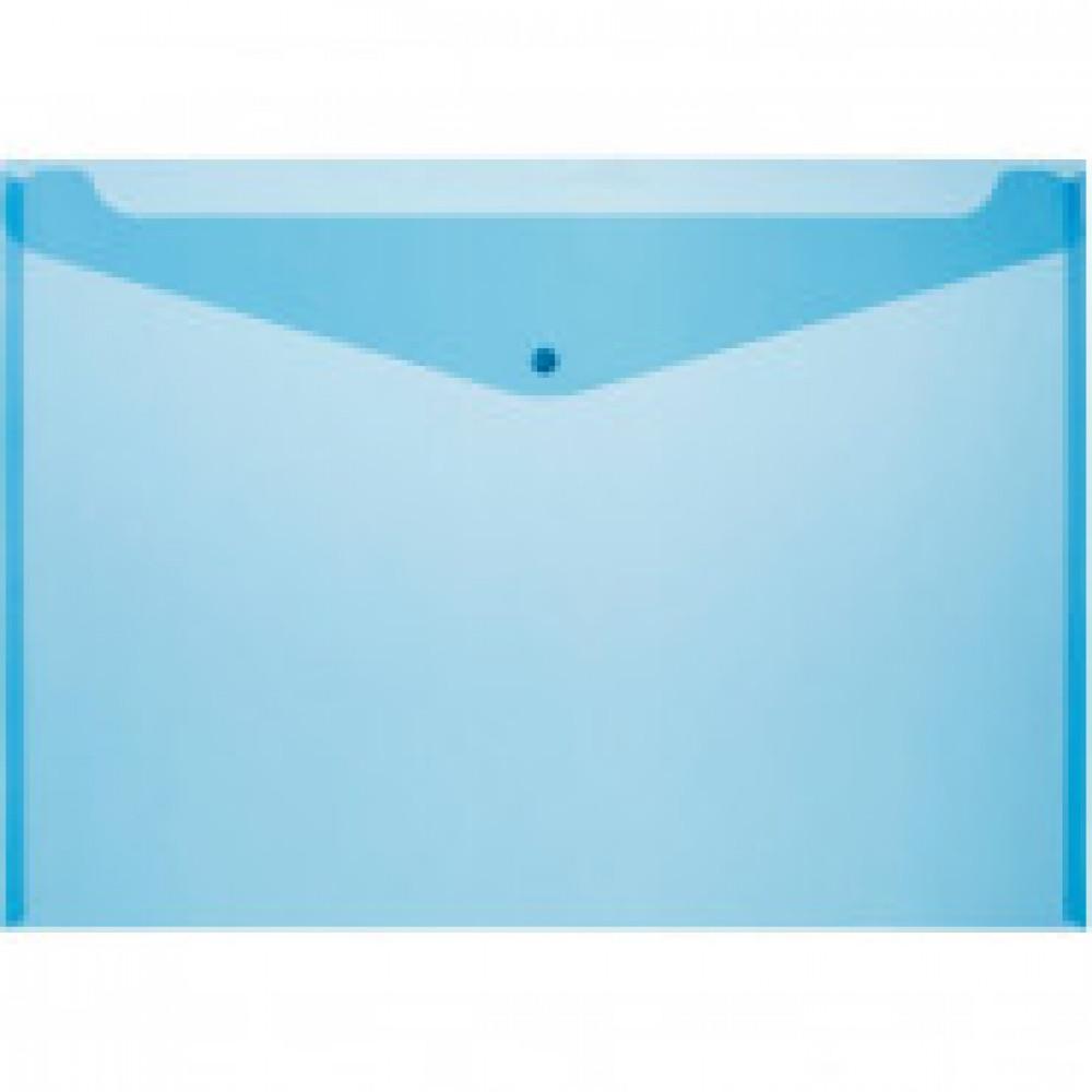 Конверт на кнопке Attache А3, полупрозр.180мкм синий, 5 шт/уп