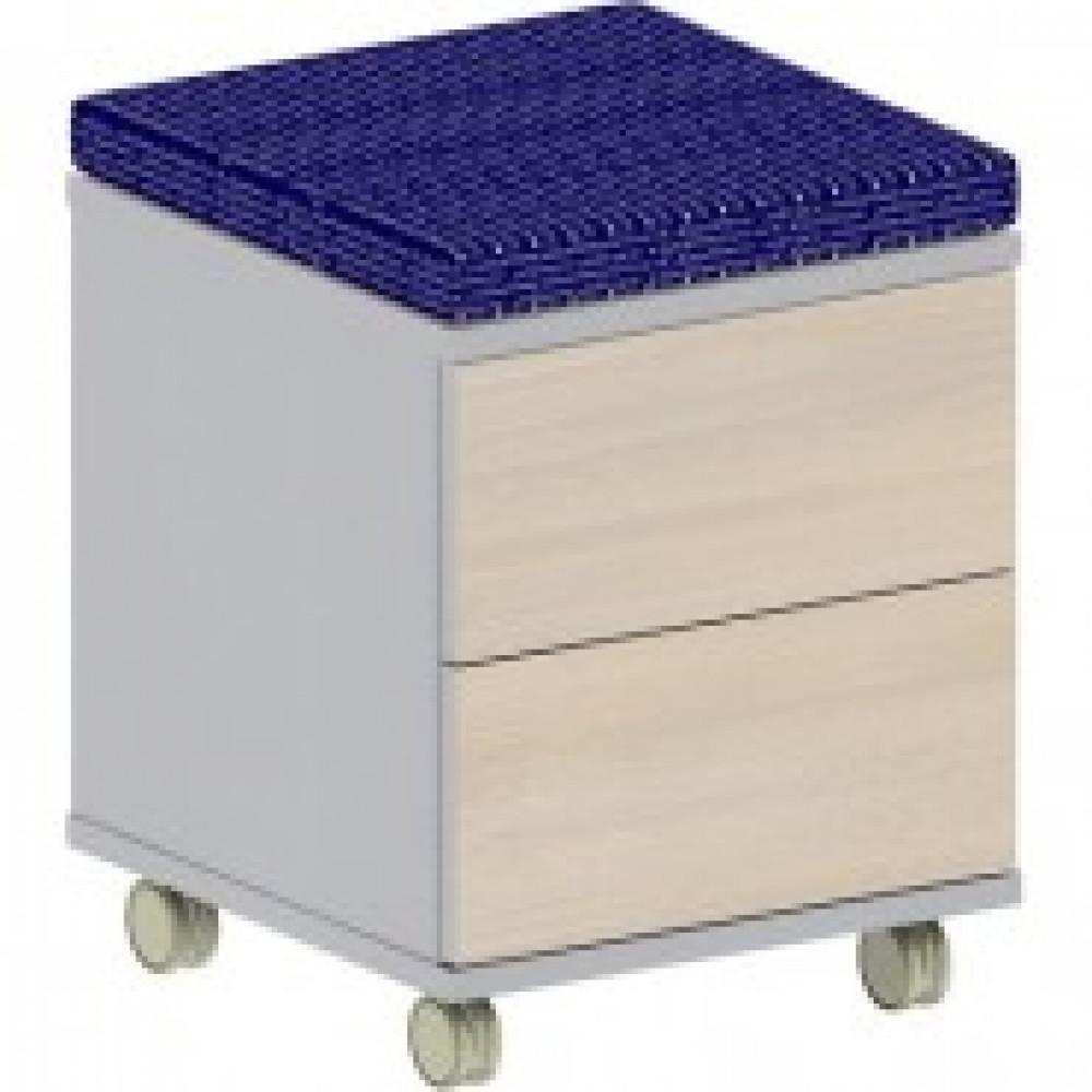 Мебель Easy B Тумба моб.с мягк.элем.1280 св.дуб/сер.(440) 2ящ.