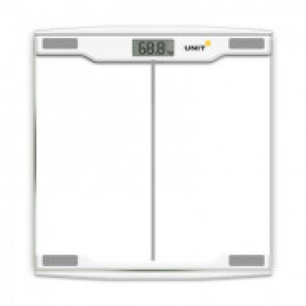 Весы напольные UNIT UBS-2054, стекло, прозрачные, 150кг. 100гр.