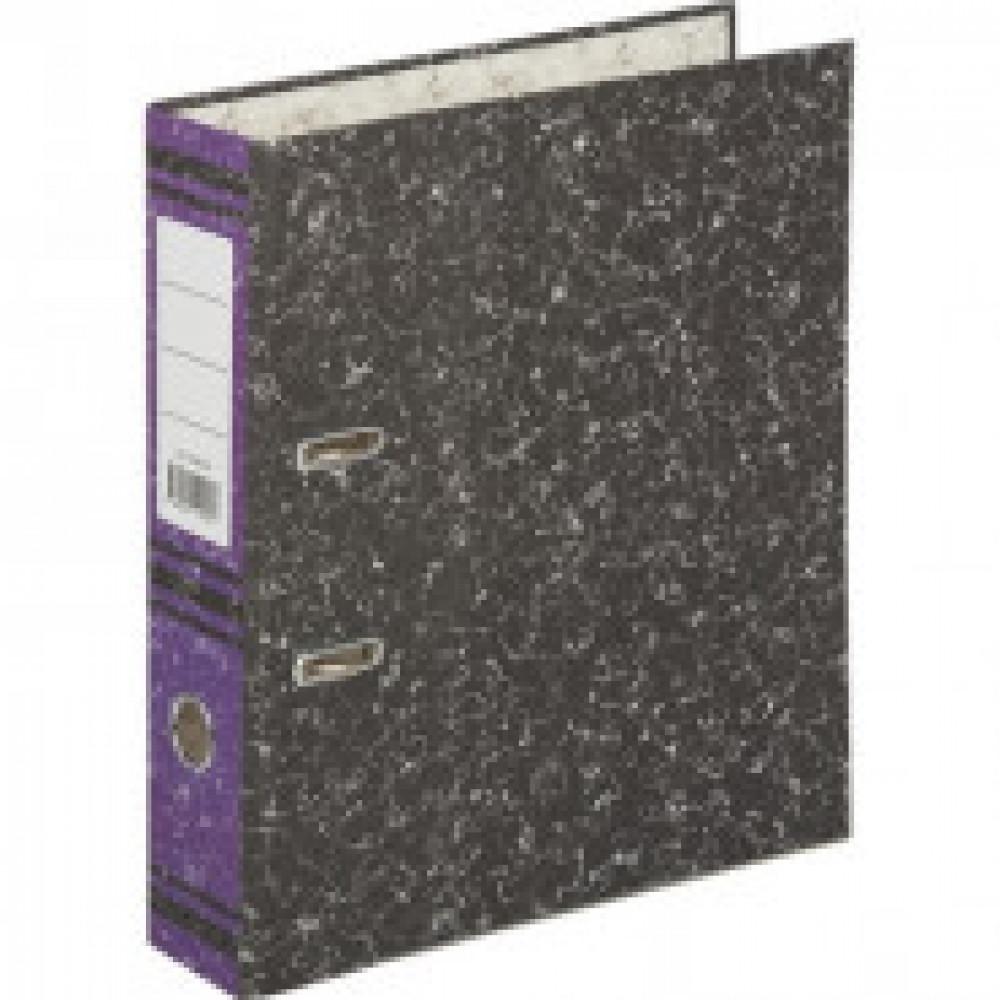Папка-регистратор 75 мм (+/- 5 мм)мрамор,мет.уг.,фиолет.корешок