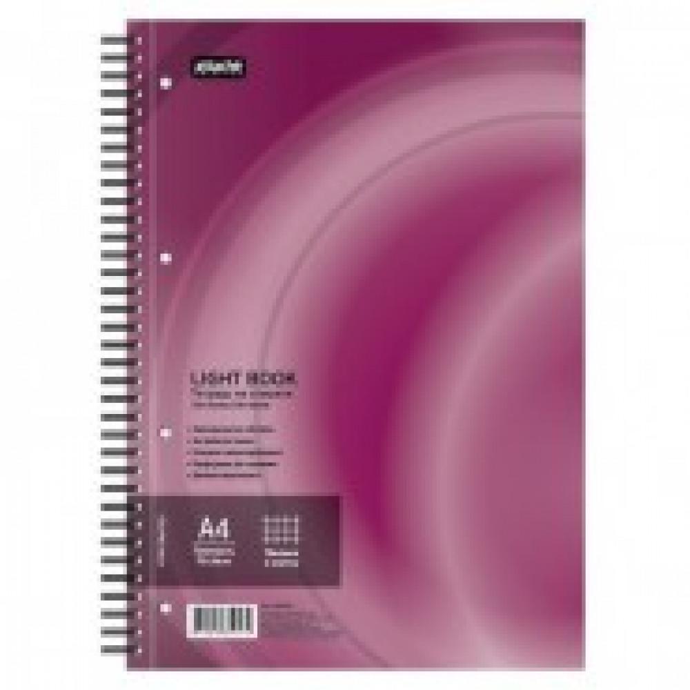 Бизнес-тетрадь 100л,кл,А4,LightBook,спираль,обл.бордо,блок белый 70г/м