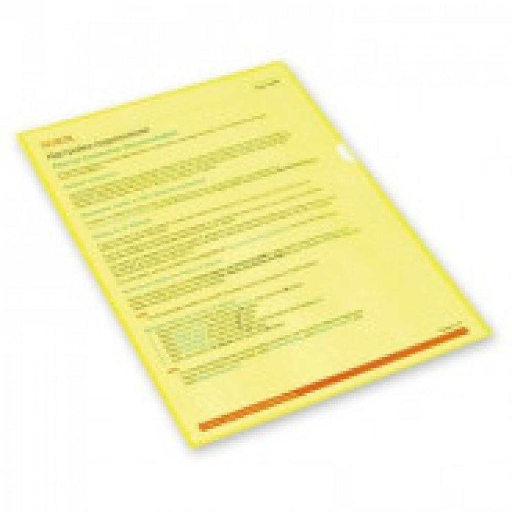 Папка уголок , 150 мкм, желтый 10 шт/уп Россия