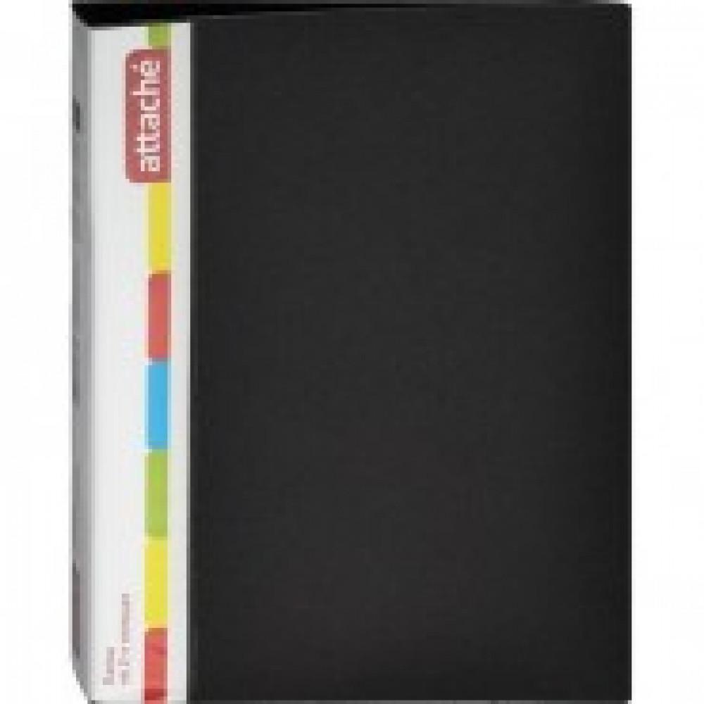 Папка на 2-х кольцах Attache 32 мм черная до 150 листов (пластик 0.7 мм)