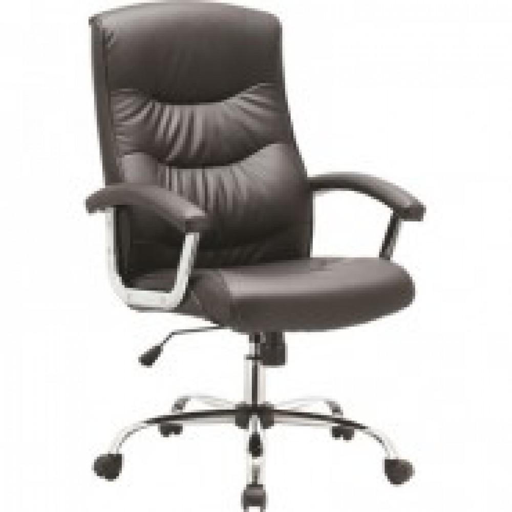 Кресло BN_Dt_EChair-550 TR рец.кожа черная, хром