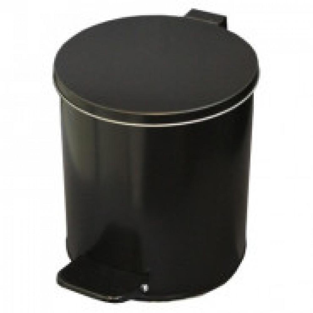 Ведро для мусора с педалью 7 л оцинкованная сталь черное (20х23 см)