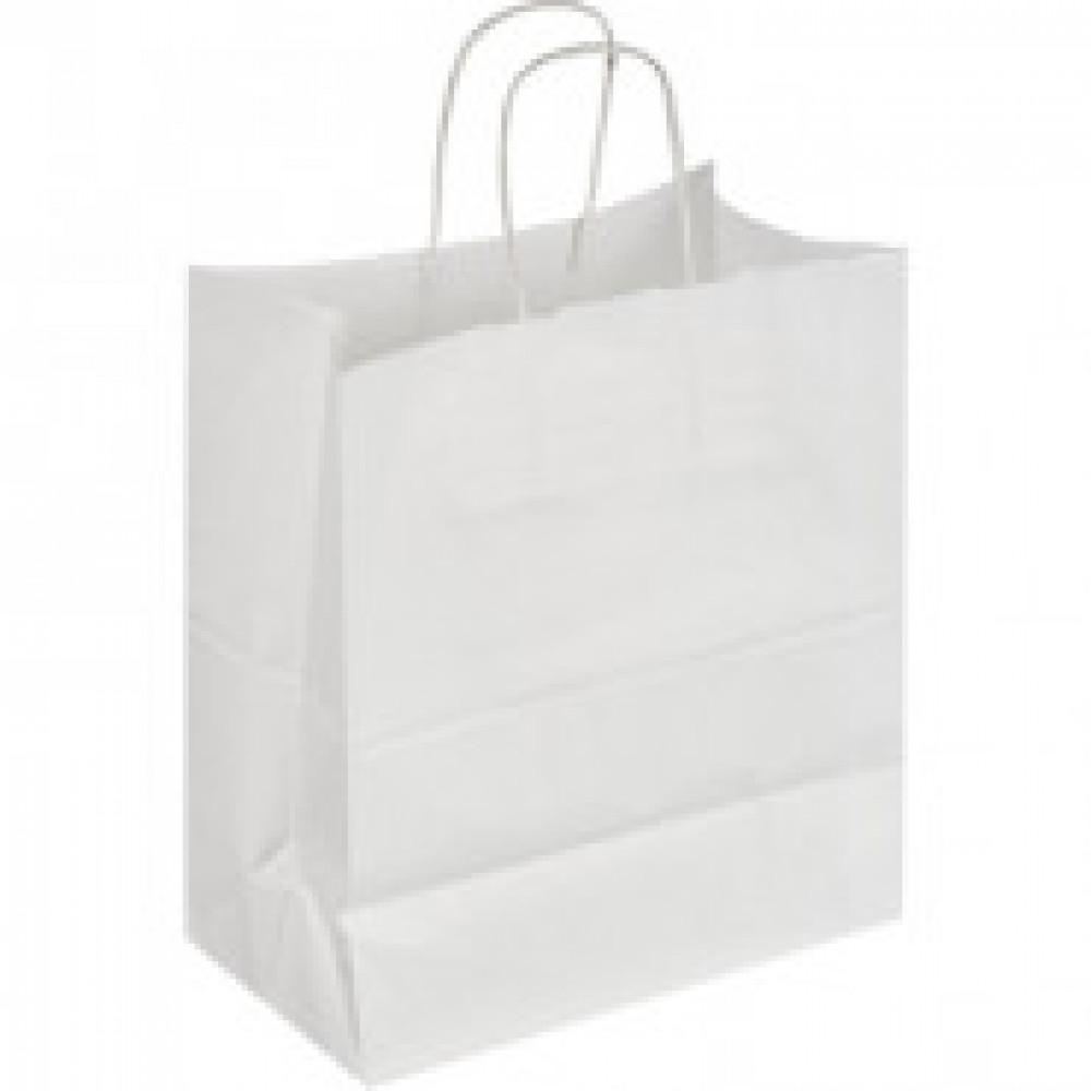 Пакет бумажный крафт белый с крученой ручкой 300x150x260 мм, 150 шт/уп