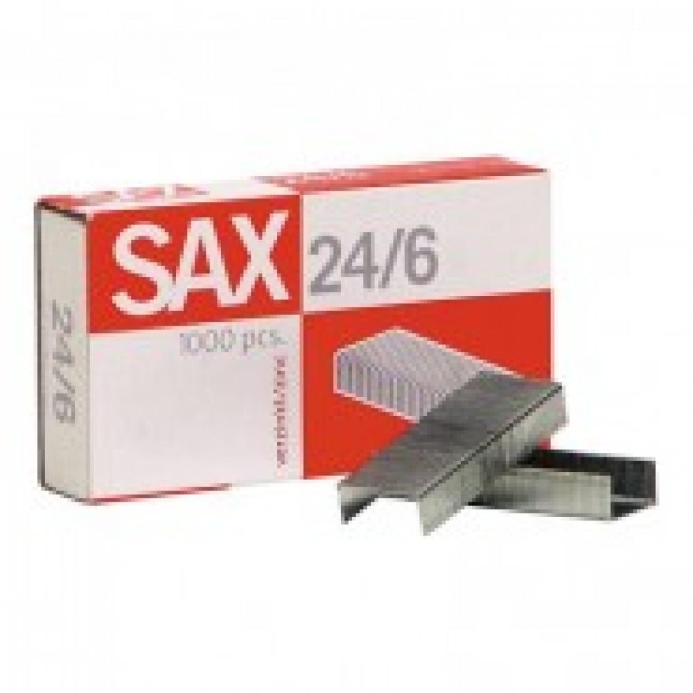 Скобы для степлера N24/6 SAX оцинкованные (2-30 лист.) 1000 шт в упаковке