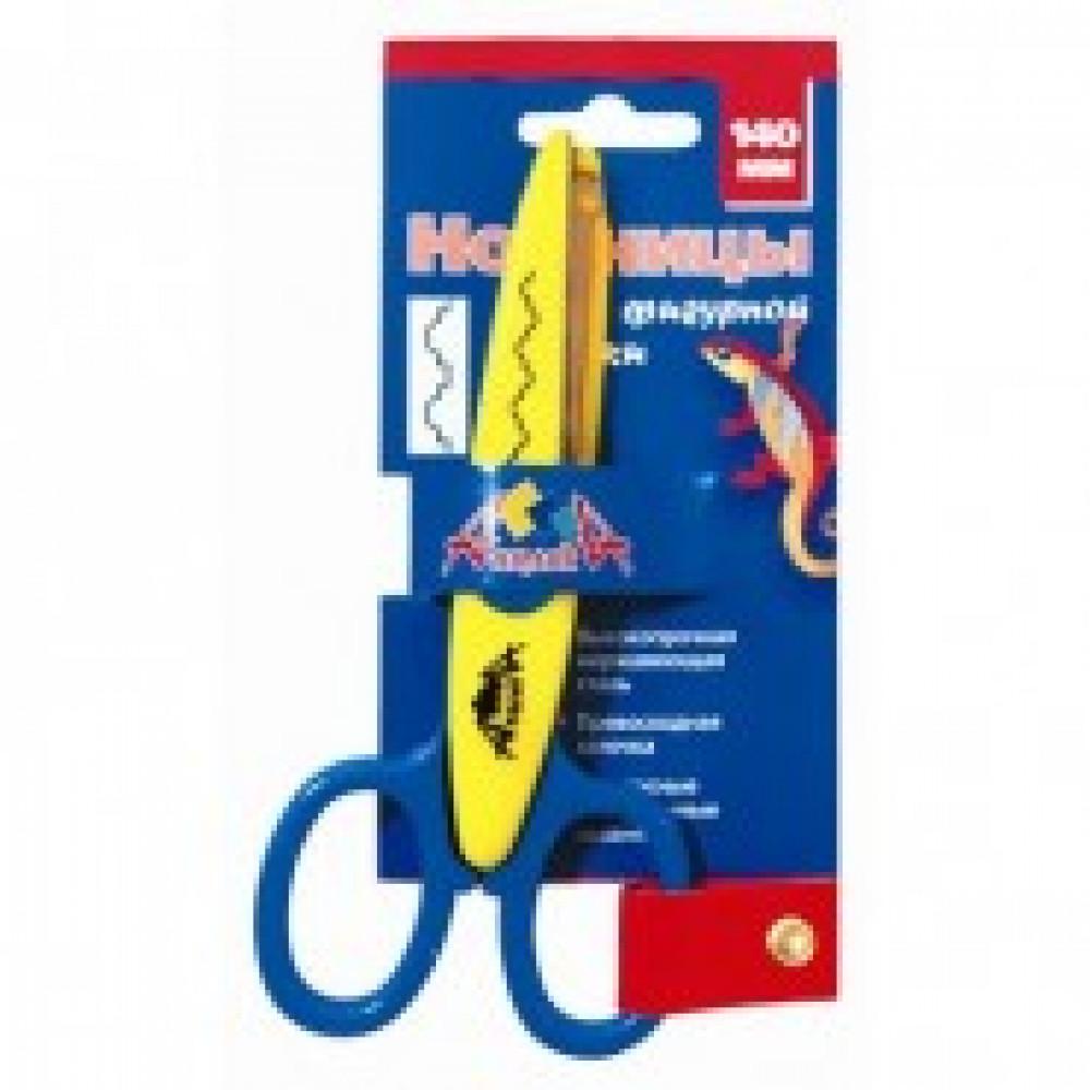 Ножницы детские Апплика 14 см с фигурным лезвием хижина, С2249-01