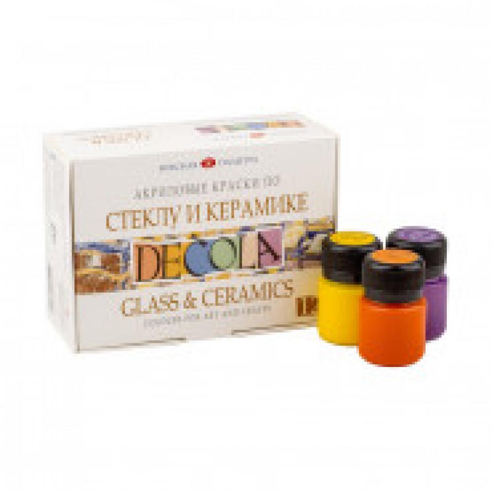 Акриловые краски Decola по стеклу и керамике 12 штук по 20 мл